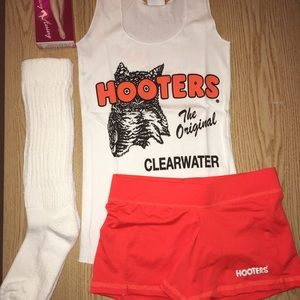 Hooters Girl uniform Tank shorts hose XL socks XS